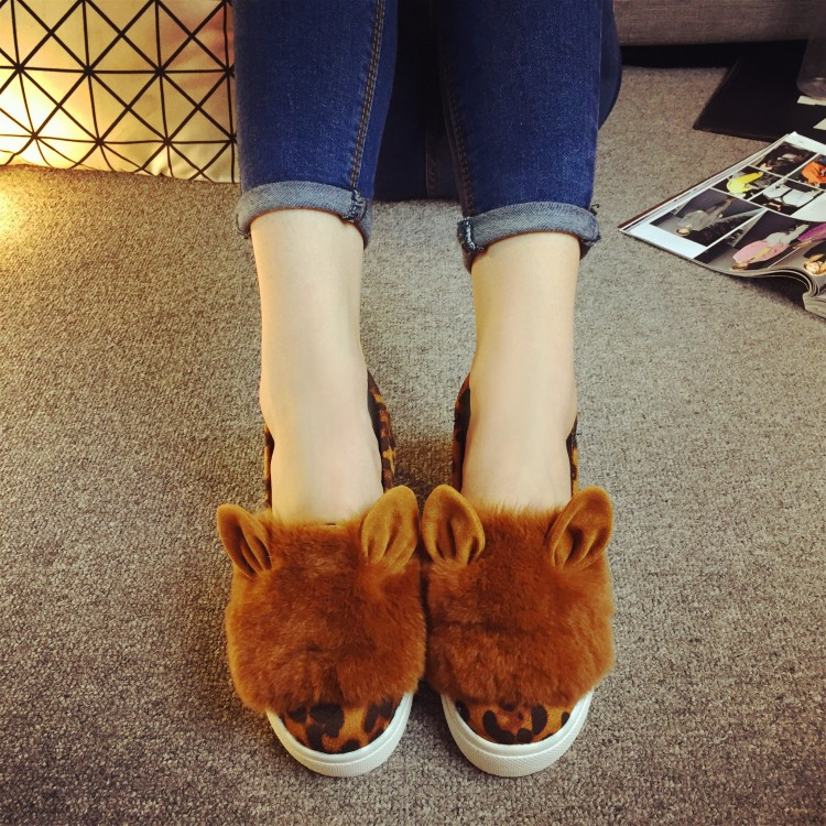 2015 qiu dong han edition rabbit ear thick shallow mouth round head loafers with flat bottom women's shoes a pedal lazy people