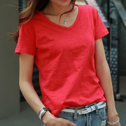 Korean red loose white short sleeved summer leisure slub cotton V collar T-shirt dress shirt coat color
