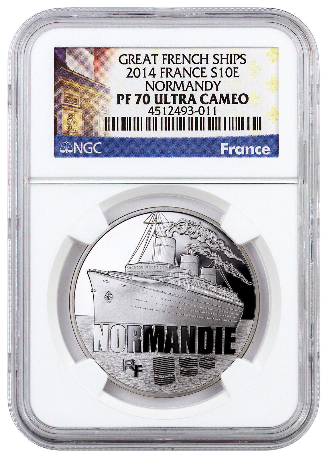 Haining tide France 2014 great ship series, Normandy commemorative silver coin NGC-PF70
