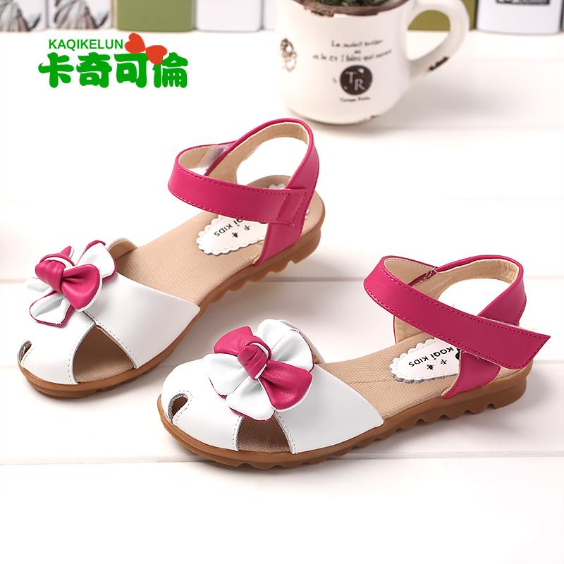 卡奇可伦女童鞋2016夏季公主鞋新款儿童凉鞋女真皮中大童包头平跟