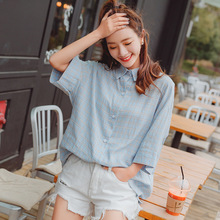 Shot 2017 summer new Korean art fresh small Plaid cotton shirt sweater coat women students