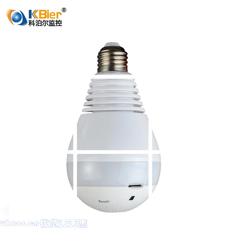 Electric light bulb, 360 degree panoramic wireless camera, WiFi remote network, HD smart phone, home use