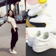 2016 new female white shoe lace Korean ulzzang white sneakers in tidal flat shoes shoes