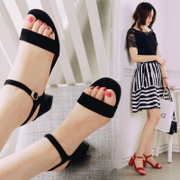 2017 in the summer with the new thick leather sandals female high heels with a black buckle