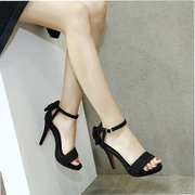 Follow sandal high with fine female xia han edition quality new waterproof sexy sweet bowknot open-toed sandals women