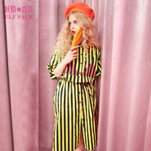 Fairy pocket Y fresh old autumn 2017 new college style shirt collar striped dress with long sleeves