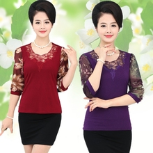 Are middle-aged mother installed summer female spring sleeve T-shirt thin chiffon shirt blouses in old T-shirt
