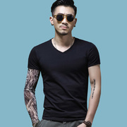 In summer men's short sleeved T-shirt V collar tight solid Korean black and white half sleeve slim trend dress shirt