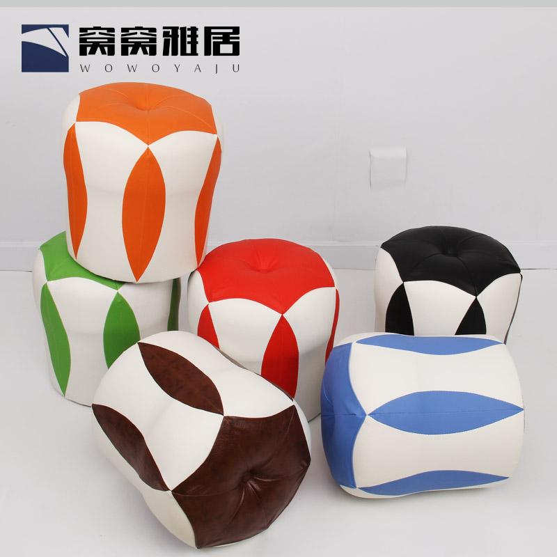 创意小圆凳皮墩子换鞋凳化妆凳时尚沙发凳皮凳子实木简约现代