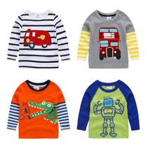 Autumn new childrens clothes t shirt childrens cartoon-Korean baby cotton shirts boys long sleeve t shirts at the end of the tide