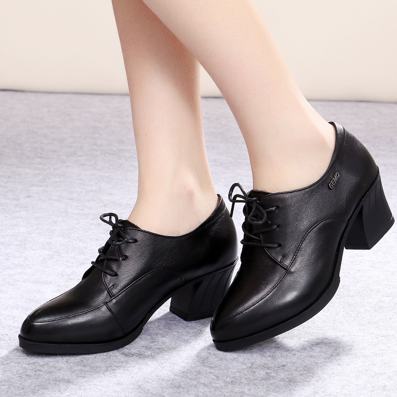 Spring leather comfortable, high heel with middle-aged women, soft bottom mother, single shoes, lace lady, work shoes