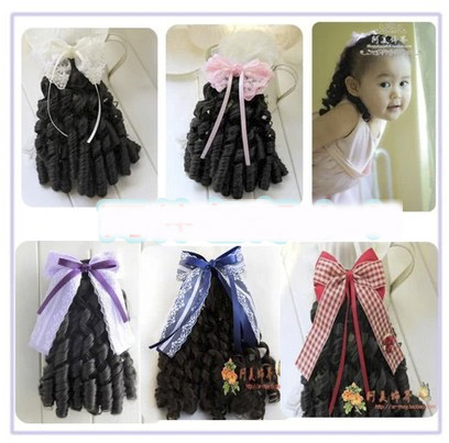 2015 new children hair hair wig hair clips Set Princess wavy hair