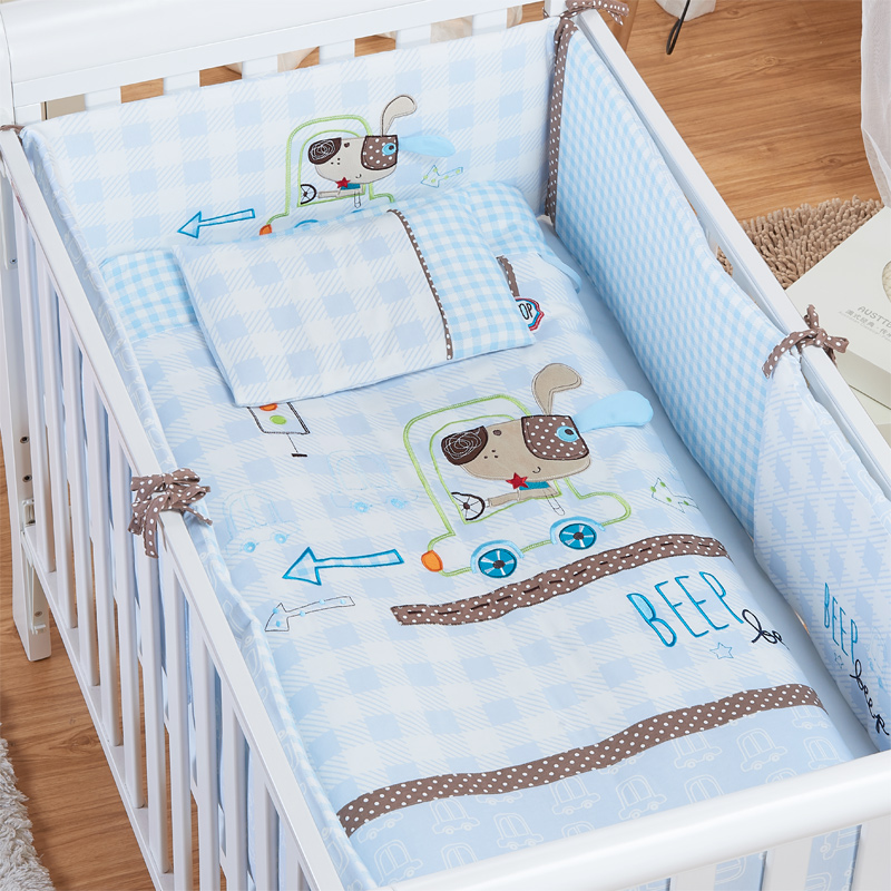 TTBABY baby bed kit, cotton baby bedding, pure cotton baby bed, quilt, bed bag, seven sets