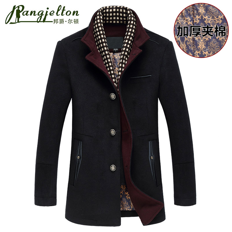 邦爵尔顿 2016秋冬新款 正品羊绒羊毛呢大衣毛呢外套精品男士装
