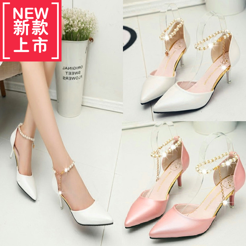 Spring and summer, 3-5cm fine heel, high-heeled shoes, women's shoes, sweet string of beads, hollow buckle, Baotou, single shoes, women