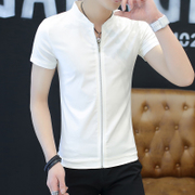 The summer wear short sleeved t-shirt men cardigan collar T-shirt sweater fashion clothes on male young students