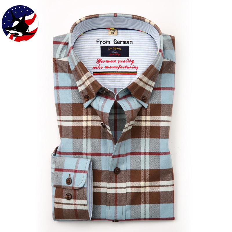 【限量版】优鲨男装 春季新款男士100%纯棉长袖衬衫男奢侈品寸衫
