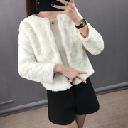 Jeanne firmin Rex imitation hair female jacket 2017 fake fur coat female short sleeved winter clearance