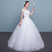 2017 new summer princess bride wedding dress a shoulder large thin dress long tail code