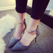 2017, spring and summer new elegant sexy, shallow pointed high-heeled shoes, word buckle, with women's shoes, fine shoes tide