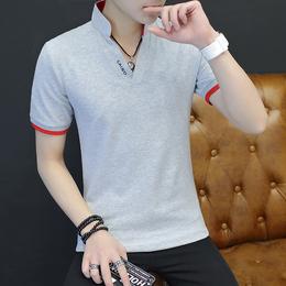 夏季短袖男士t恤潮流韩版立领男纯棉搭配衣服个性学生帅气丅恤桖