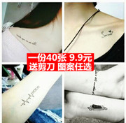 A 40 piece of tattoo waterproof boy English lasting simulation finger tattoo sexy collarbone