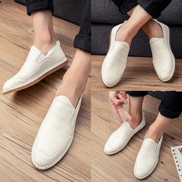 夏季韩版豆豆鞋男士小皮鞋套脚白色休闲鞋英伦驾车鞋乐福鞋潮男鞋