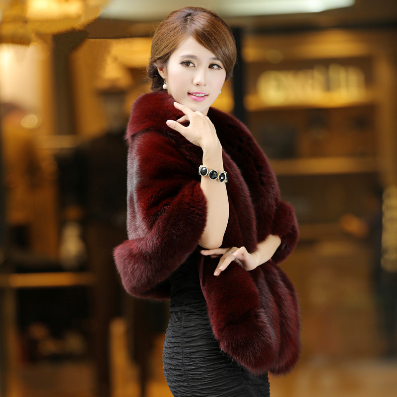 2016 new Haining fox fur coat cloak, thin, imitation mink fur shawl, female special clearance