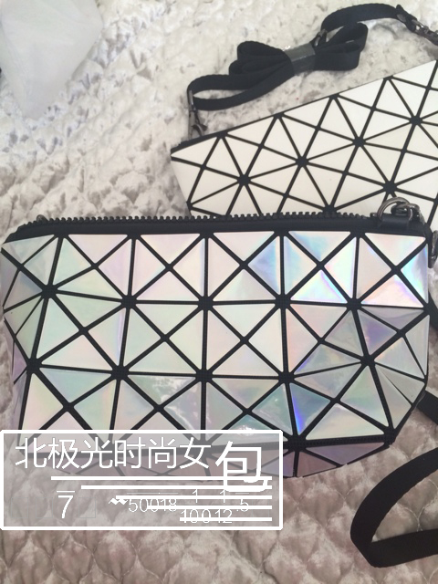 Purchase new Issey Miyake women bag ladies hand bag folding metal rhombic deformation Radium color cosmetic bag