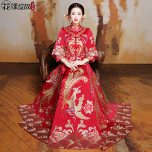 2017 new winter clothing Xiu he bride toast Chinese wedding cheongsam wedding dress wedding dress gown Dragon