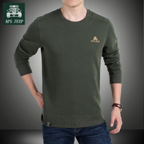 AFS JEEP long sleeve t shirt mens spring and fall loose casual crewneck sweater mens solid color sports top