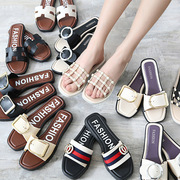 Female fashion slippers summer wear out 2017 new Korean party Koupo with outdoor sandals sandals all-match