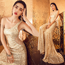 One-shoulder cut rhinestone costume sexy slim show night club dinner session gold sequined fishtail gown