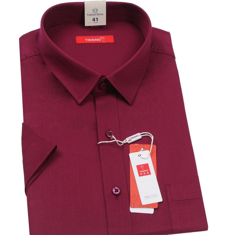 纤丝鸟男士短袖衬衫纯色夏季男装男式酒红色枣红色棉衬衣青中老年