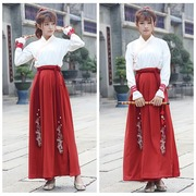 Costume modified Han Chinese clothing women's wear daily cross-collar shirt waist jackets skirt 2 piece set family pack-mail