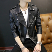 Men's motorcycle leather suit male youth 2017 coat Korean PU leather jacket young man