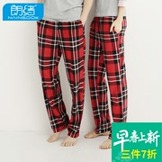 The spring and autumn Lang Xu new couples men and women pajamas plaid pants casual pants pants, elastic wind Home Furnishing living