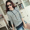 2017 spring new Korean women 's self - cultivation bottoming shirt hooded letters printed long - sleeved T - shirt large size shirt