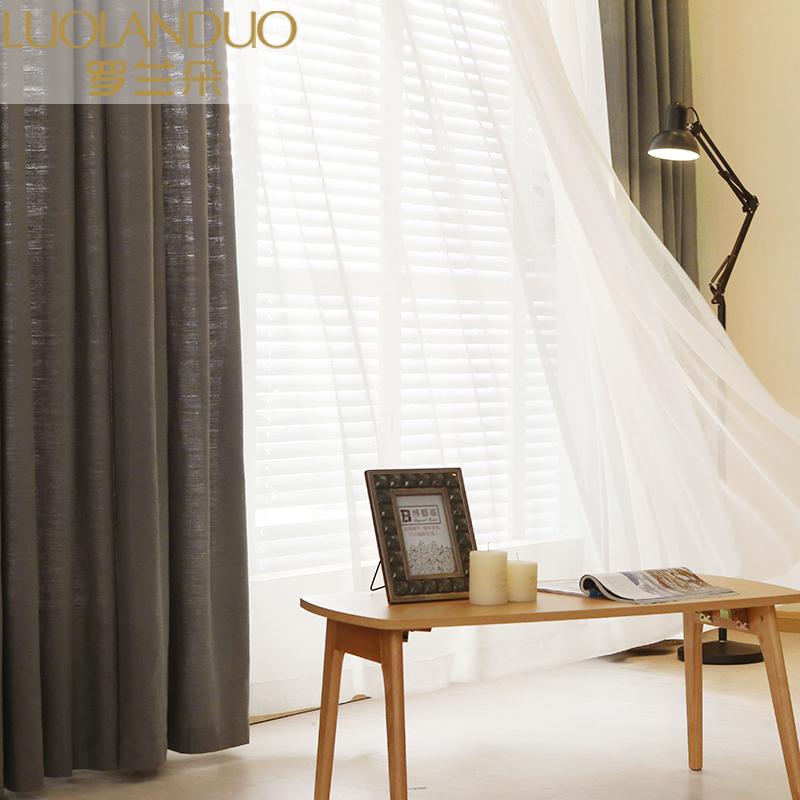美式乡村复古棉麻窗帘布定制客厅卧室飘窗亚麻半遮光纯色窗帘成品