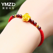 Chinese Valentine's Day gift gold transfer beads 3D hard gold rose Garnet Bracelet