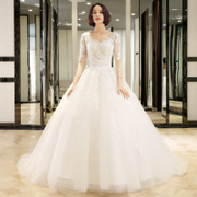 2017 new Korean version of pregnant women V collar show thin wedding dress wedding bride big dream big tail female Princess