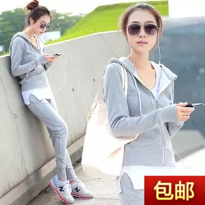 Ladies ' three-piece suits 2015 quarter pants sweater Cardigan long sleeve casual sportswear for fall/winter white vest