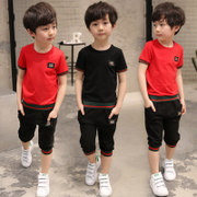 Kids Boys summer suit 2017 new children 7 short sleeved summer 9 11 children 13 years old Korean tide clothing