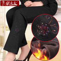 Mother pants old and plush padded pants old man fall winter pants women plus size elastic waist and leisure wear pants