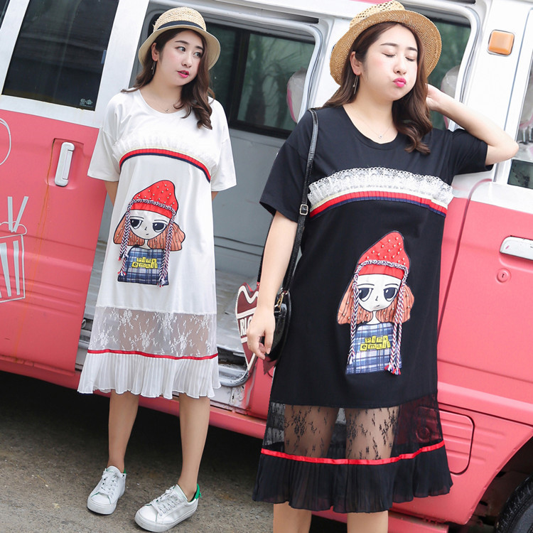 Fat fat sister Large XL Womens summer new cartoon dress sub factory direct supply 0726
