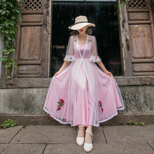 Summer summer female thin blouse long cardigan Chiffon embroidery waist slim rose sleeve slim temperament