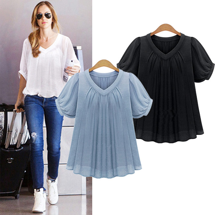 2017 summer new European wind plus fertilizer XL Womens fat MM200 jins thin chiffon shirt T-shirt short sleeve female