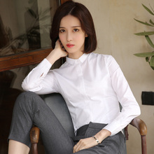 The white shirt sleeved 2017 new autumn female occupation cashmere shirt collar dress with thickened small warm cotton shirt
