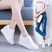 Spring and summer increase in women's shoes slope with thin leather travel and leisure shoes female lace wild thick white shoes female