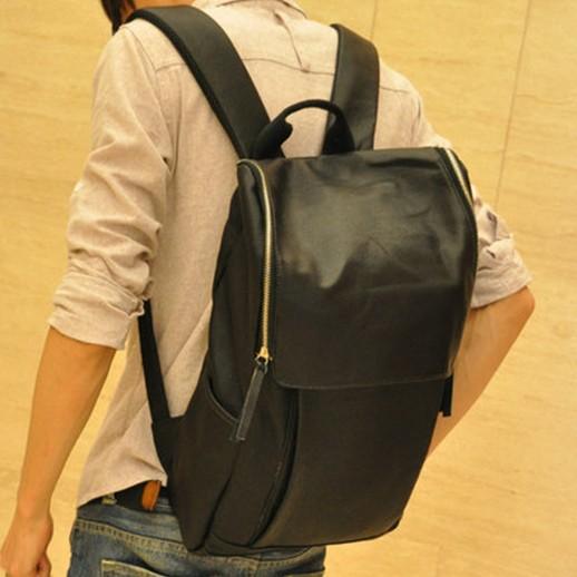 新款日韩休闲双拉头机车大方背包旅行包男生双肩背包学生书包